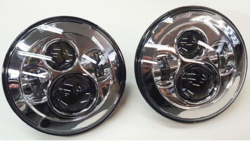 "Pair Clear 7"" Defender Round LED Head Lights / Lamps"